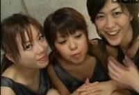 3人の女達のザーメン回し飲み。連続ぶっかけごっくん